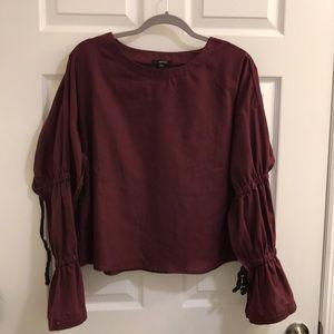 Burgundy cinched sleeved top